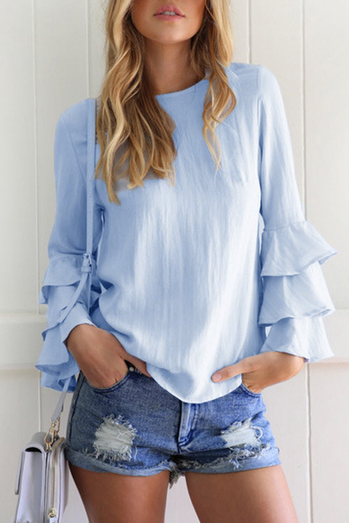 Blue Flared Sleeves Round Neck Blouse