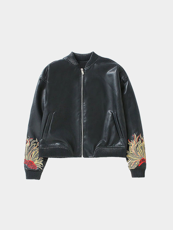 Embroidery Pattern Zipper Front Leather Jacket with Pocket