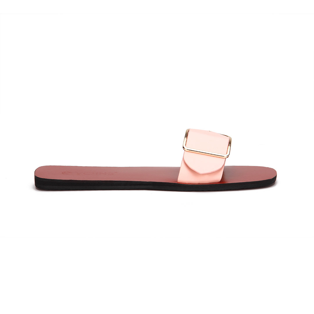 Pink One Pin Buckle Strap Simple Slippers