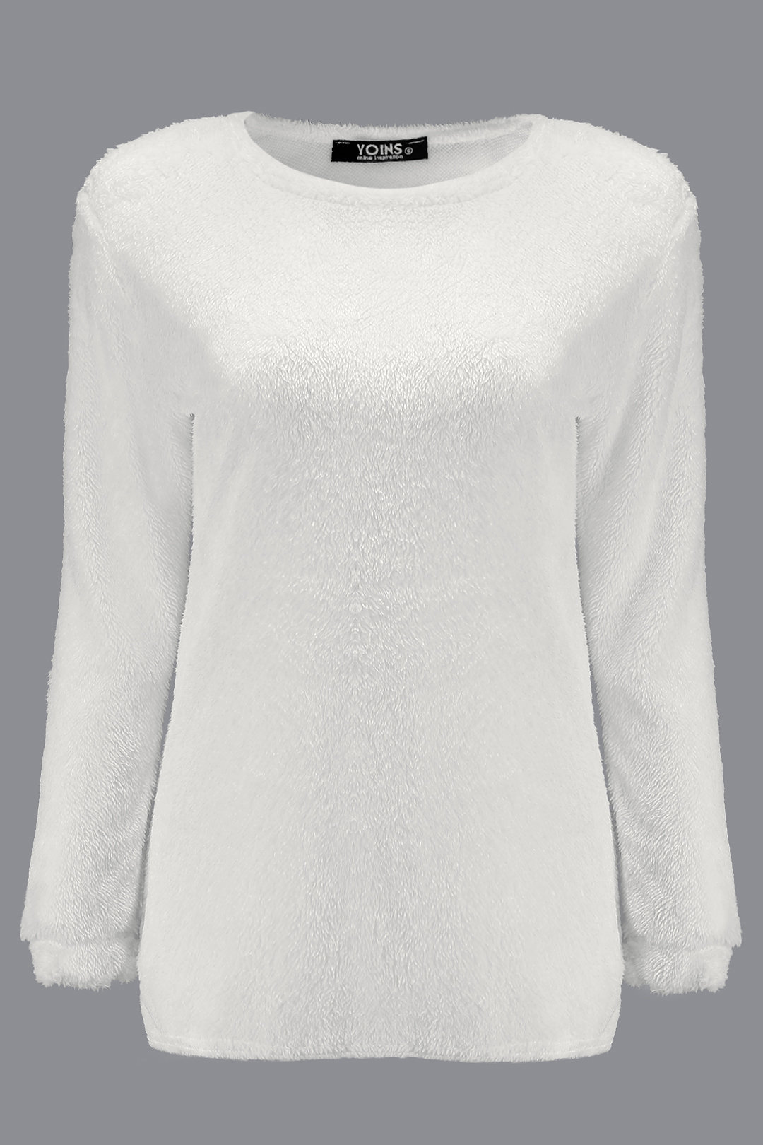White Round Neck Long Sleeves Sweater Top