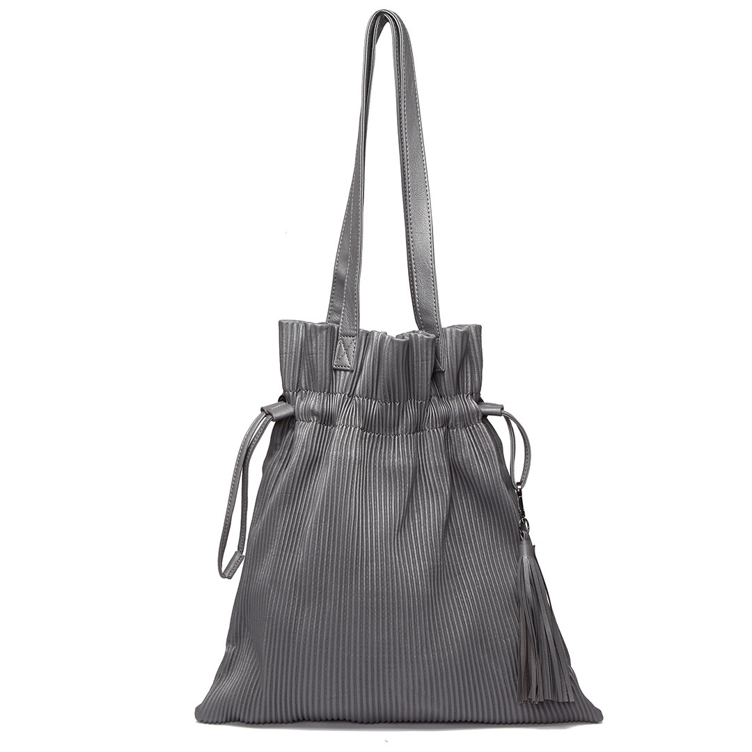 Grey Pleated Design Drawstring Shoulder Bag