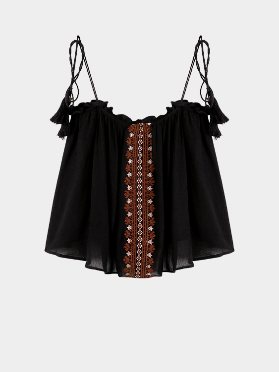 Embroidery Sleeveless Cami Top with Tassel Detail Belt