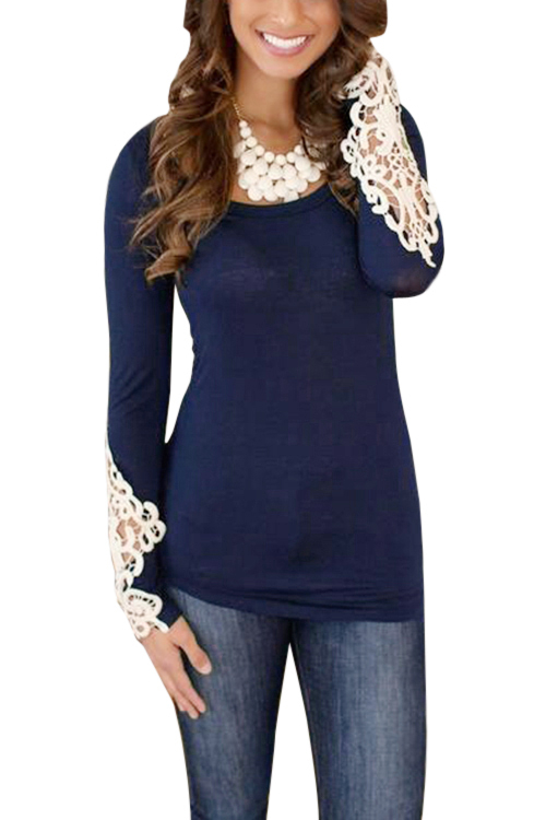 Navy Long Sleeves Shirt with Lace Details