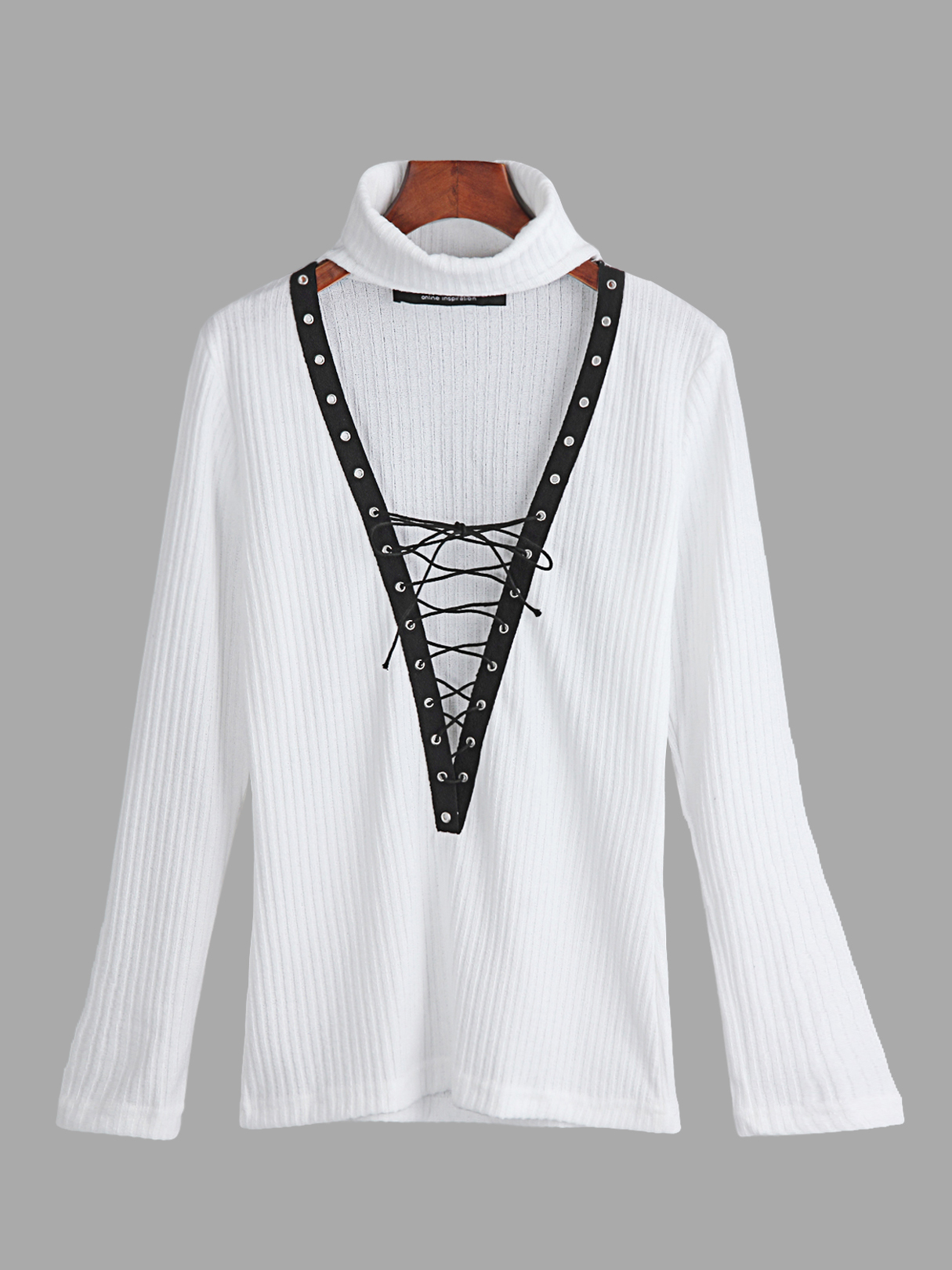 White Blue Sexy Knitted Roll Neck Hollow Lace-up Front Jumper