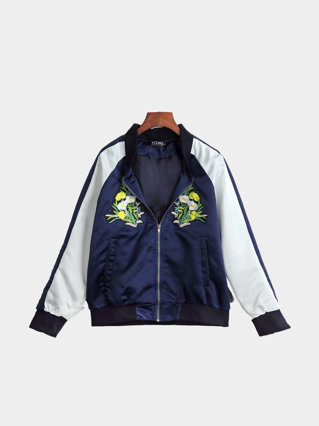 Fashion Embroidery Pattern Side Pockets Gold Zipper Fastening Bomber Jacket