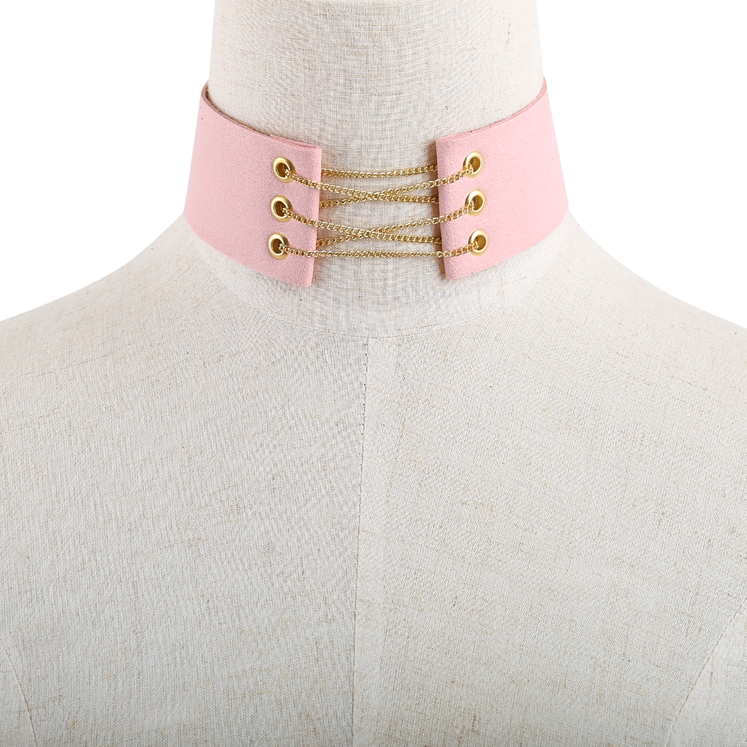 Fashion Pink Suede Gold Metal Self-tie Back Necklace