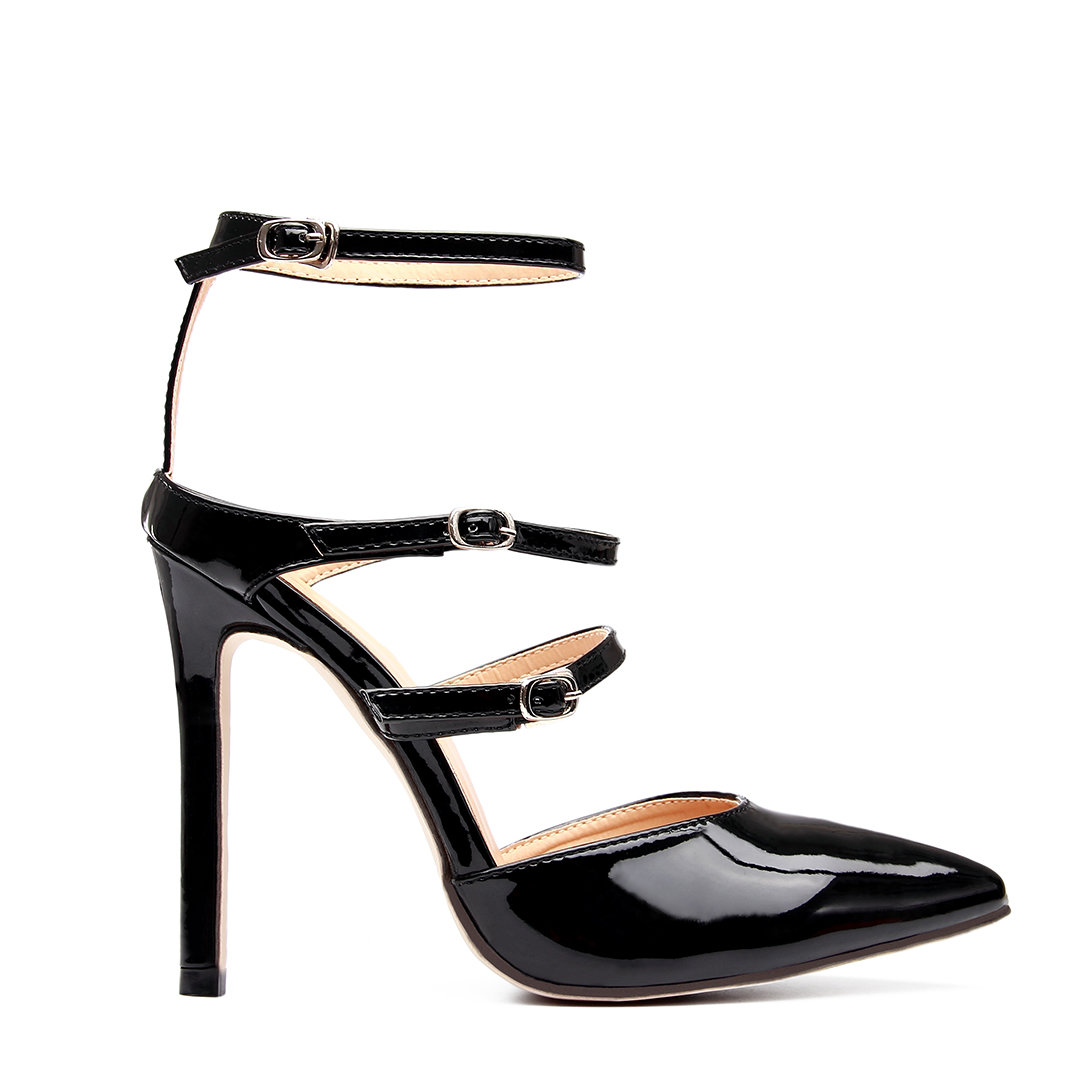 Black Leather Look Ankle Strap High Heels