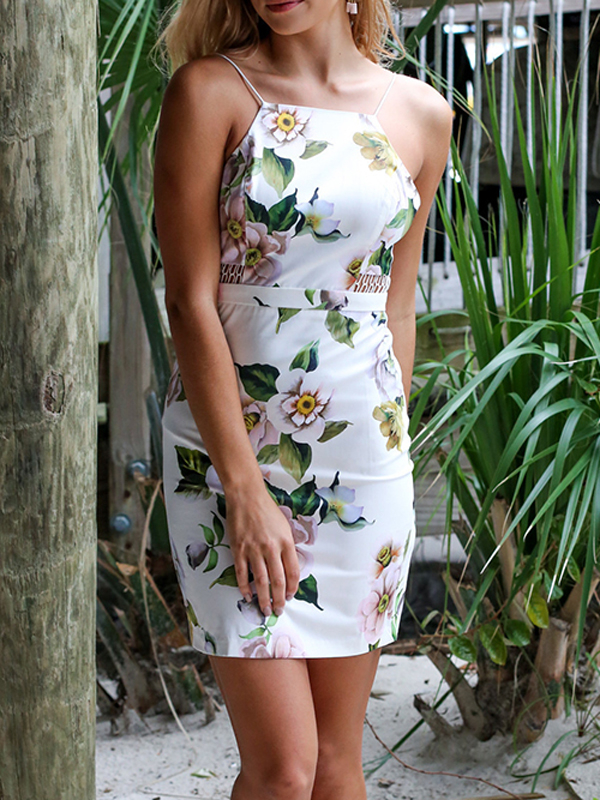 Random Floral Print Hollow Out Cami Dress with Hidden Zip Back