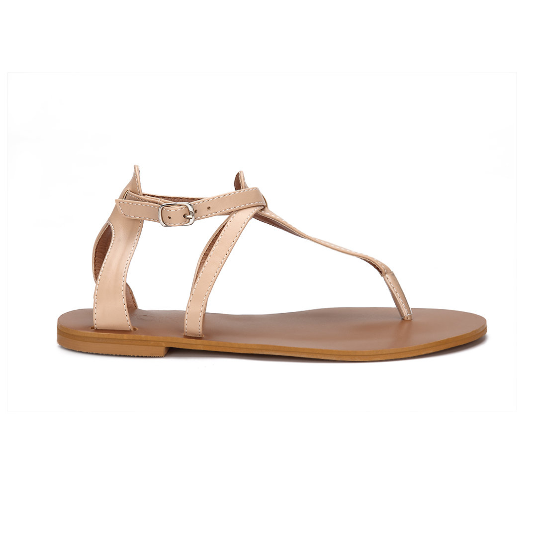 Apricot Leather Look T-bar Design Adjustable Strap Flat Sandals