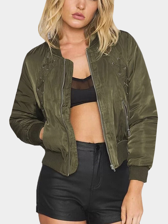 Green Fashion Zipper Lace-up Bomber Jacket with Zip Pockets