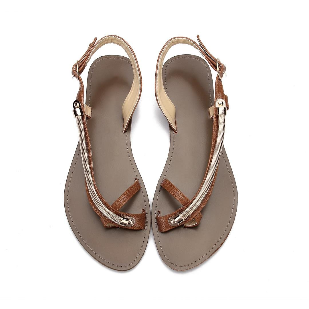 Brown Metallic Looped Toe Slip-on Sandals от Yoins.com INT