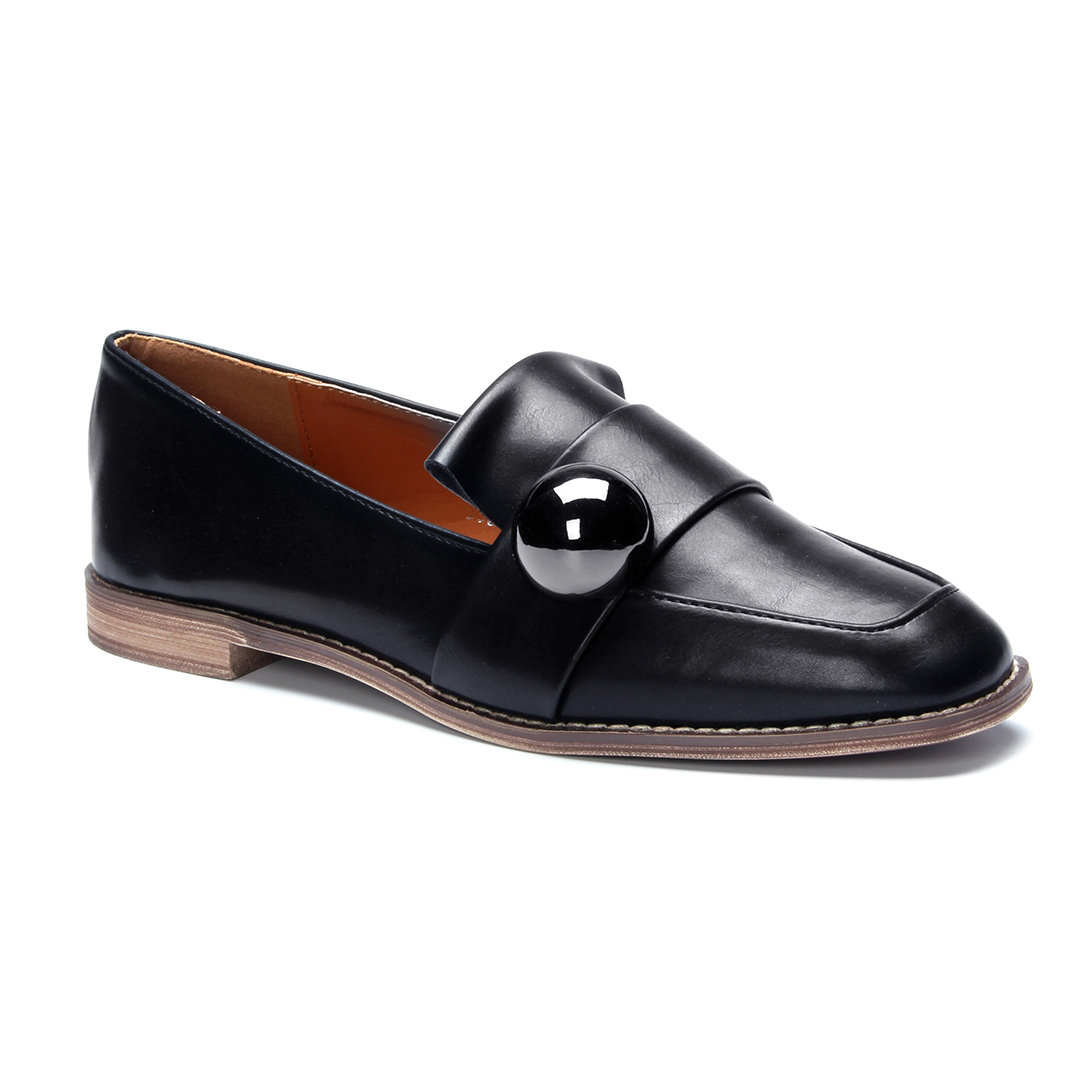 Black Steel Ball Embellished Loafers