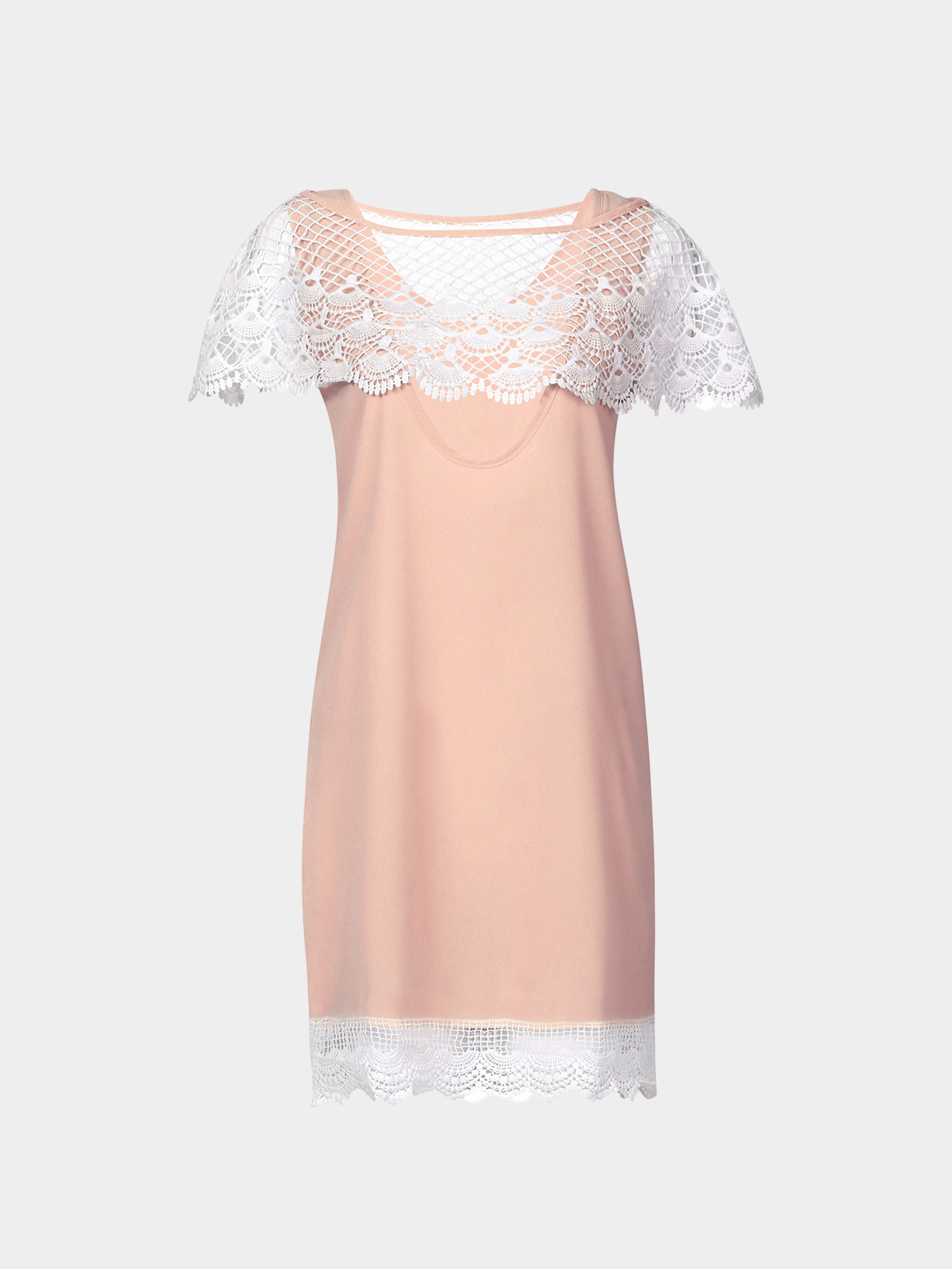 Pink See Through Sleeveless A-line Lace Mini Dress