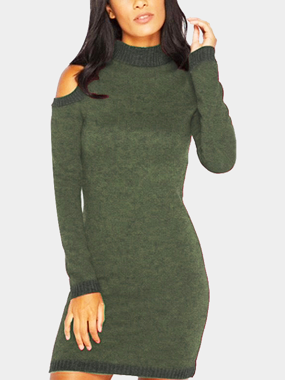 Green cold shoulder perkins collar knitted dress