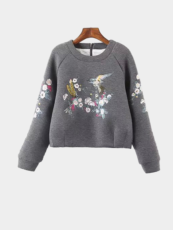 Casual Pullover Embroidery Pattern Zipper Back Sweatshirt