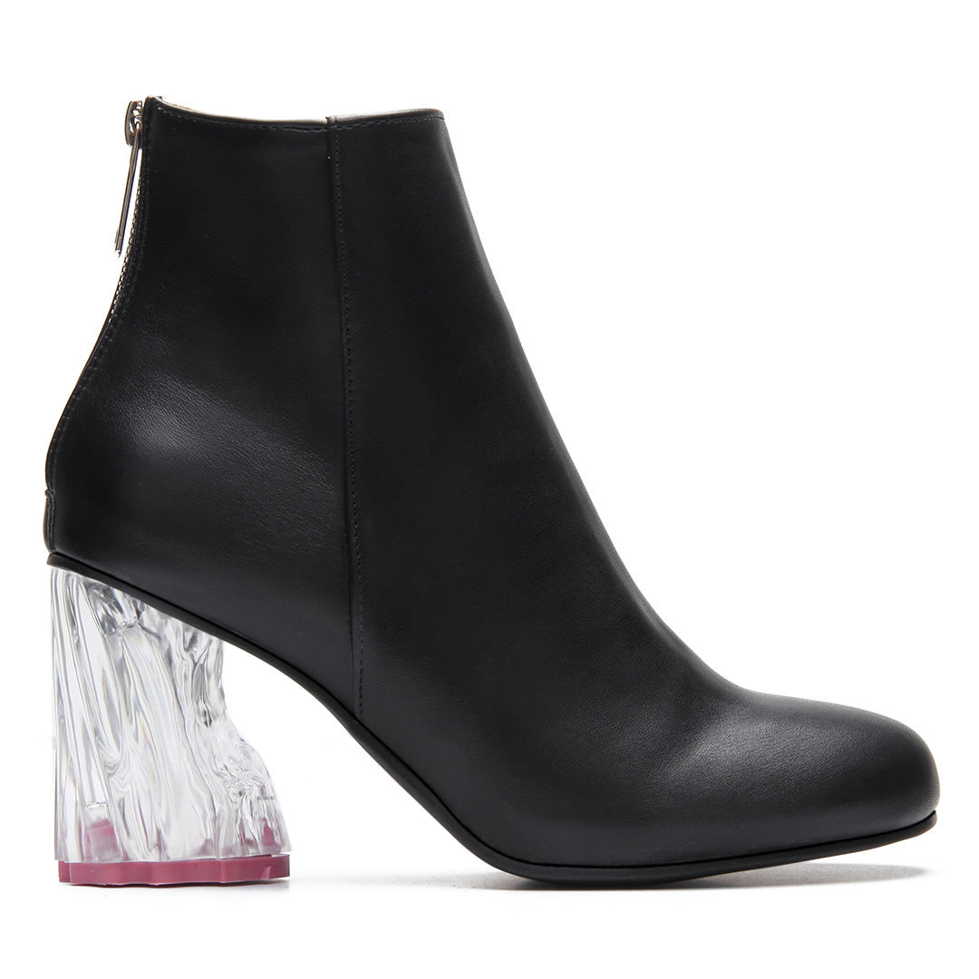 Black Transparent Chunky Heel Ankle Boots