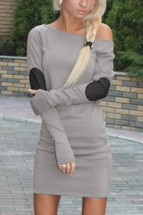 Grey Sexy One Shoulder Mini Dress