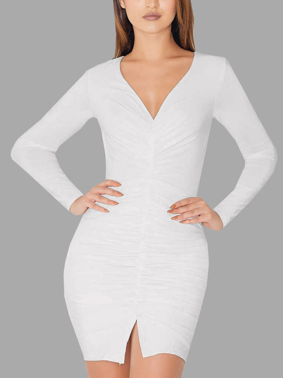 White V Neck Split Detail Pleated Front Party Dress