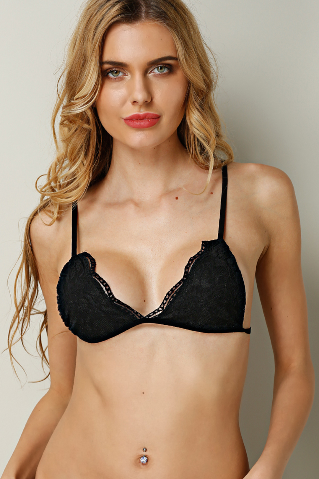 Black Sexy Lace Lingerie Without Falsies