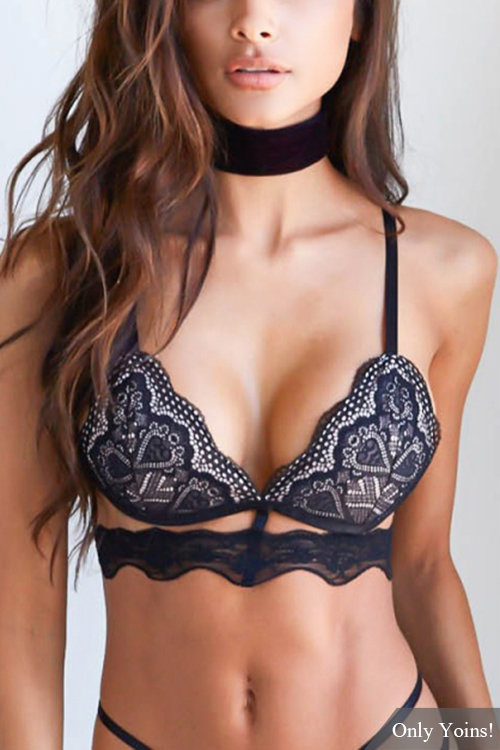 Black Sexy Lace Bralette Top with No Falsies