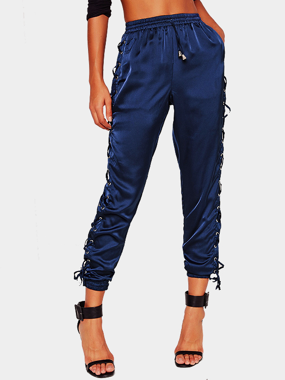 Blue Satin Lace Up Side Jogger with Drawstring Waist