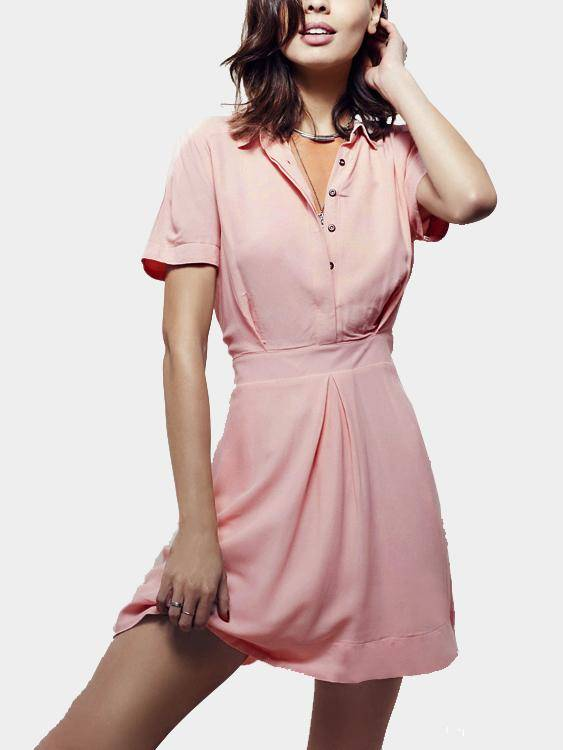 Chiffon Mini Shirt Dress in Pink