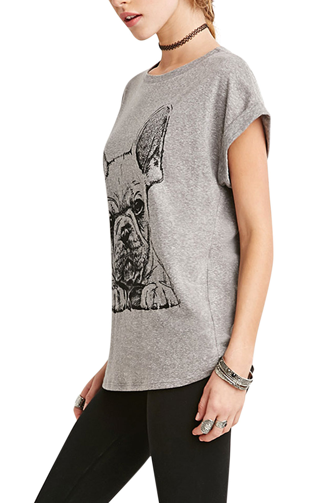 Dog Print Short Sleeve T-shirt In Grey от Yoins.com INT