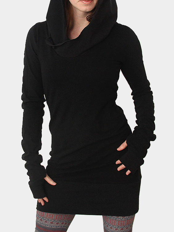 Long Sleeve Hooded Thin Dress with Thumb Holes
