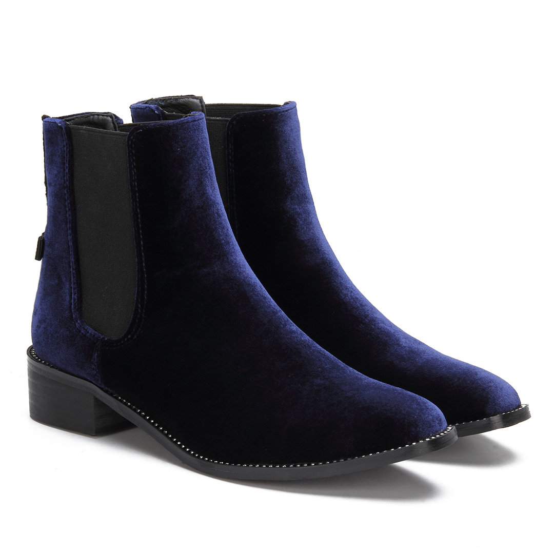 Navy Fashion Velvet Chelsea Ankle Boots with Crystal Embellished