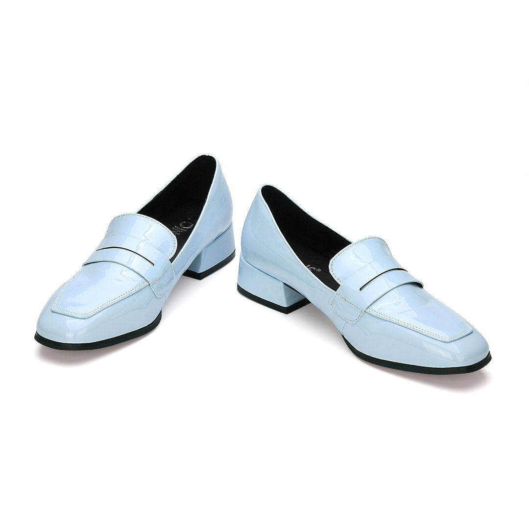 Light Blue Classic Leather Look Square Toe Slip-on Loafers от Yoins.com INT