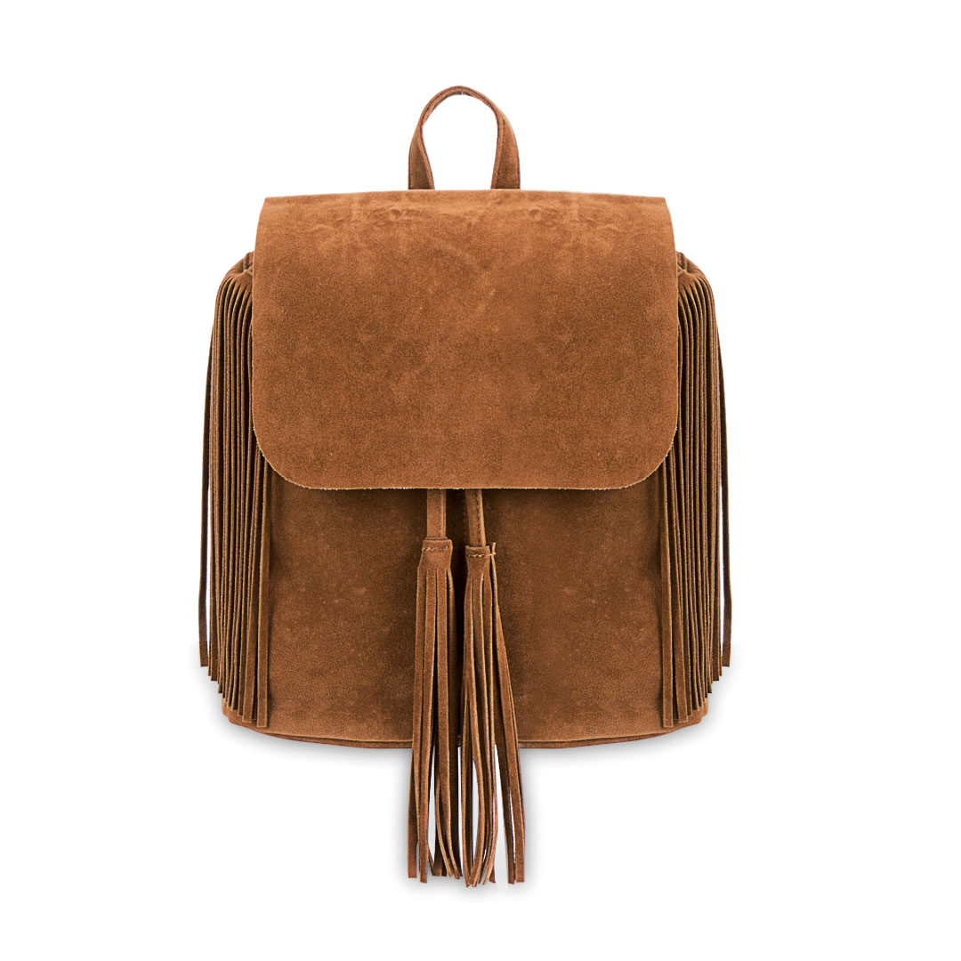 Khaki Fringe Backpack with Foldover Flap