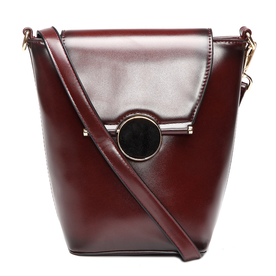 Burgundy Vintage PU leather Shoulder Bag