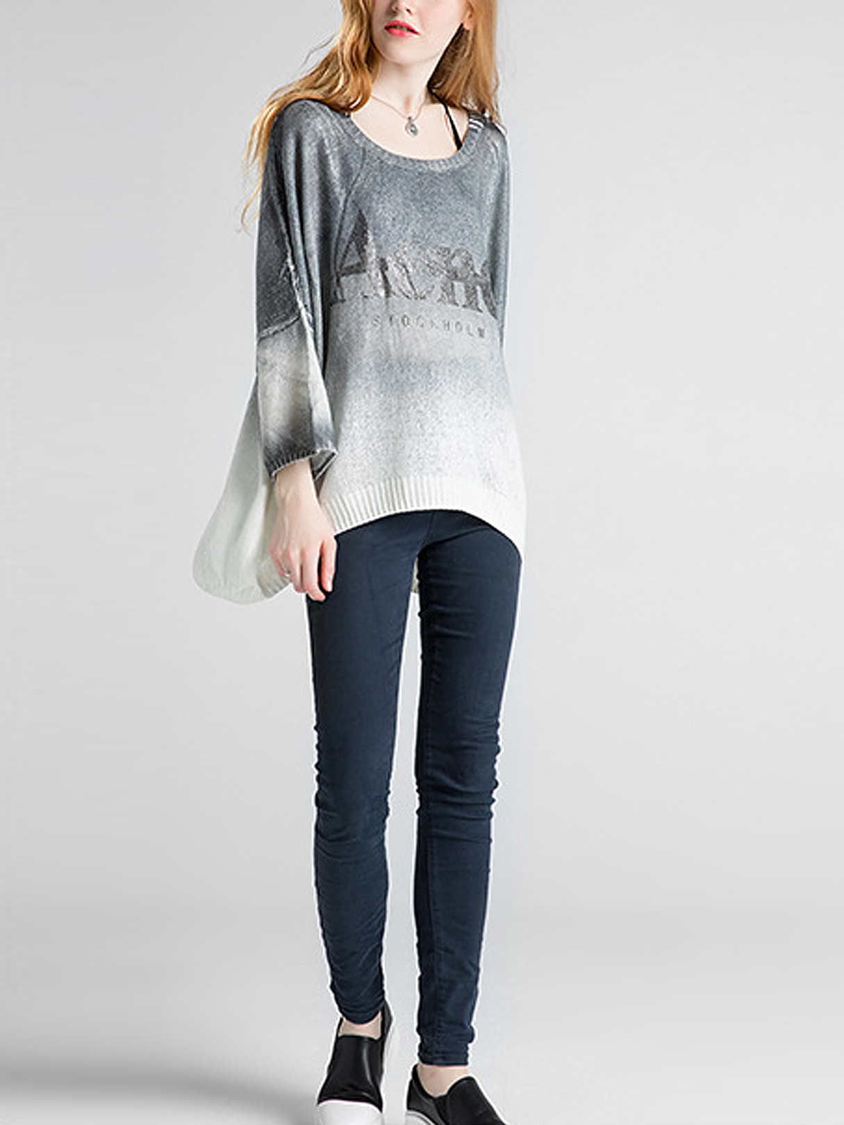 Grey Relaxed Curved Hem Knitwear от Yoins.com INT