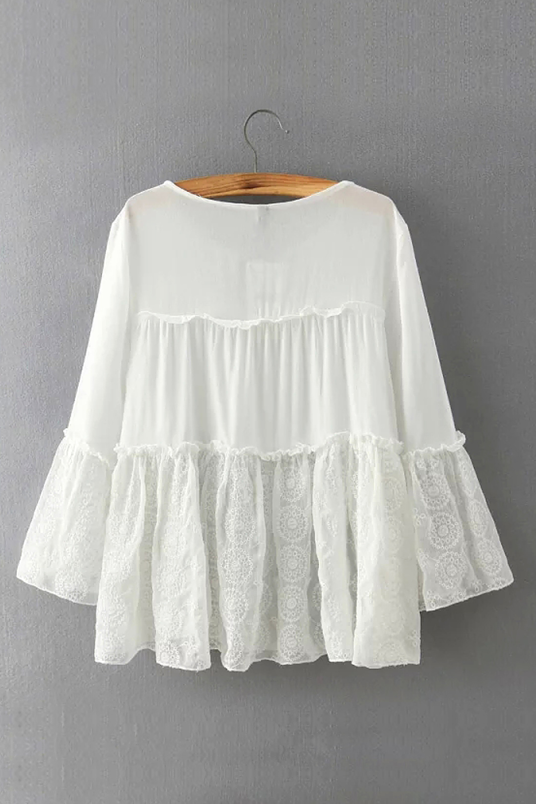 White Tie Front Flared Sleeve Blouse with Lace Detail от Yoins.com INT