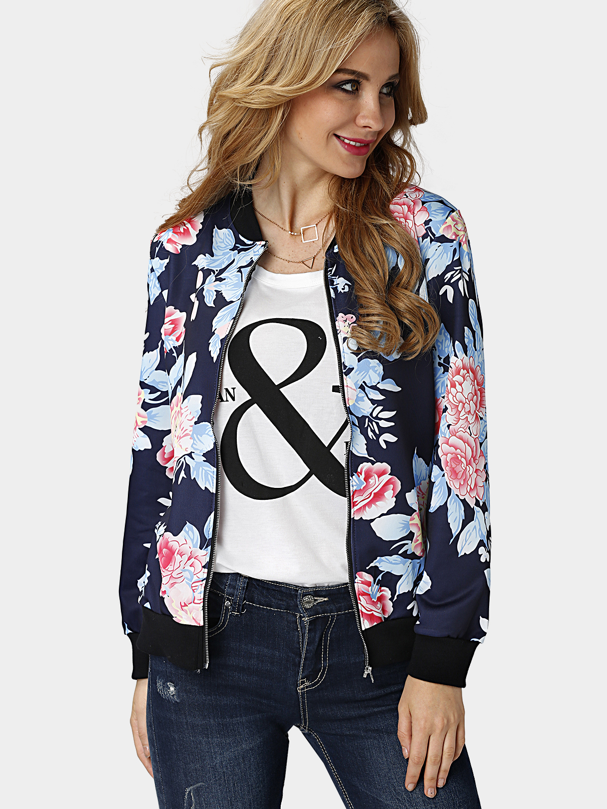 Fashion Bomber Jacket In Random Floral Print