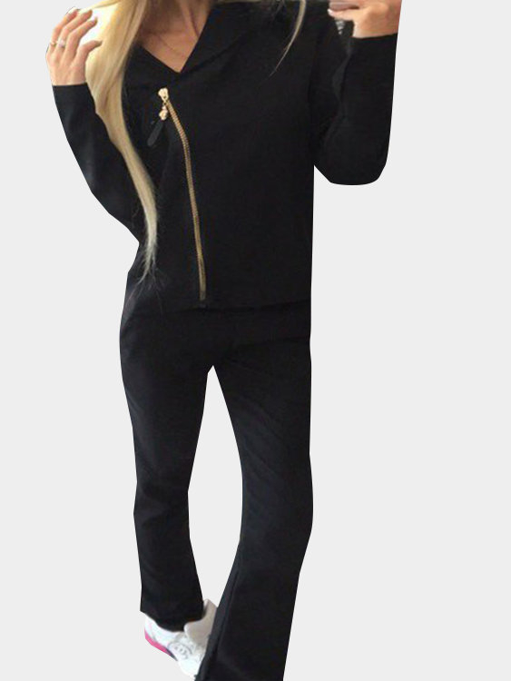 Black Casual Hooded Suit