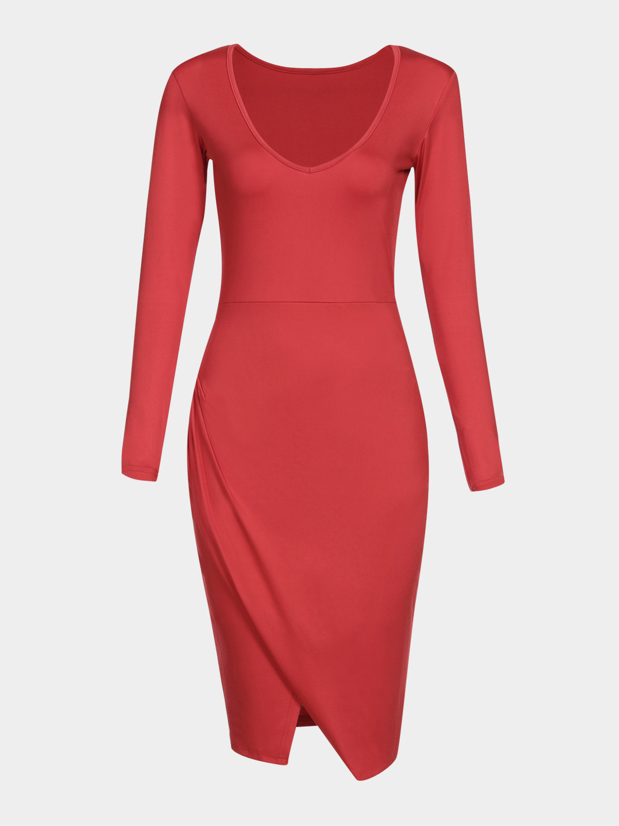 Red V-neck Long Sleeves Dress With Splited Hem