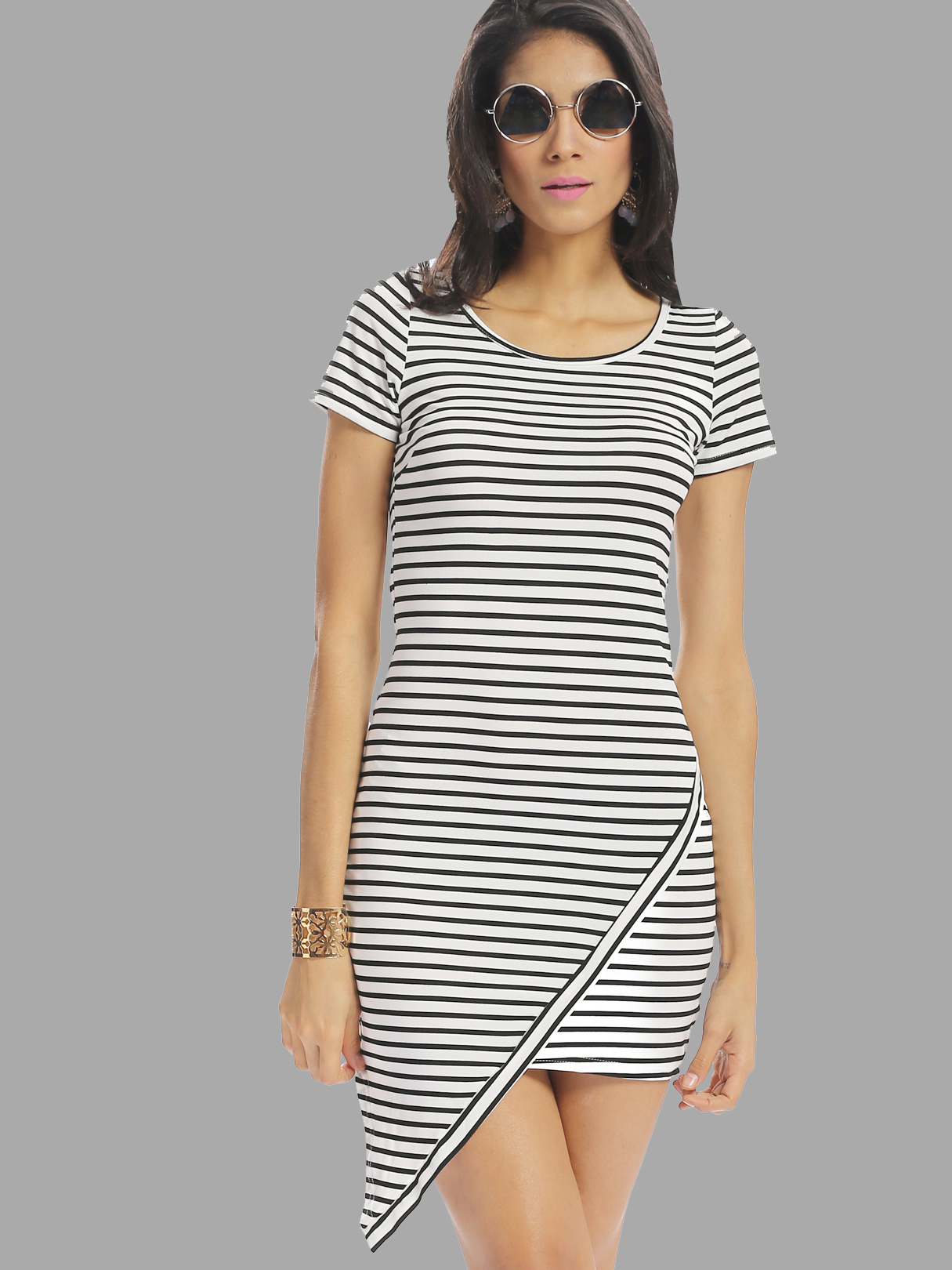 Casual Round Neck Irregular Hem Stripe Dress