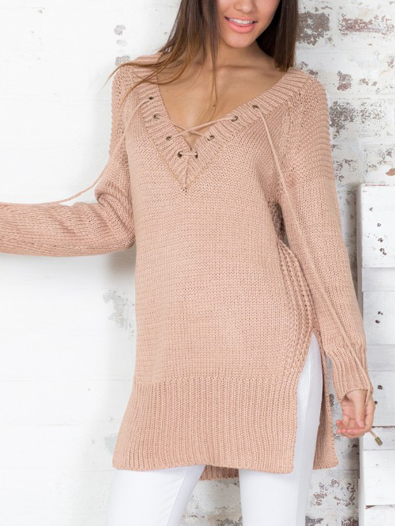 Sexy V-neck Front Lace-up Jumper от Yoins.com INT