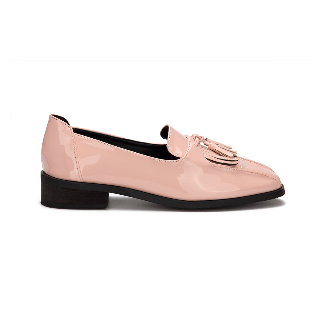 Pink Leather Look Squre Toe Chunky Heel Slip-on Loafers With Tassel