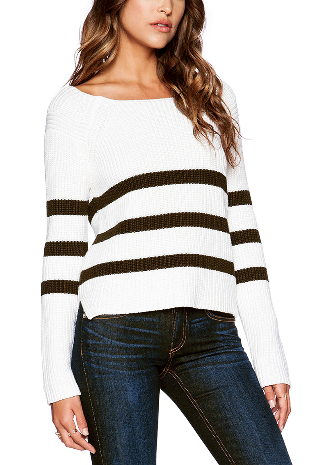 Long Sleeves Striped Knitwear with Round Neck SKU295072