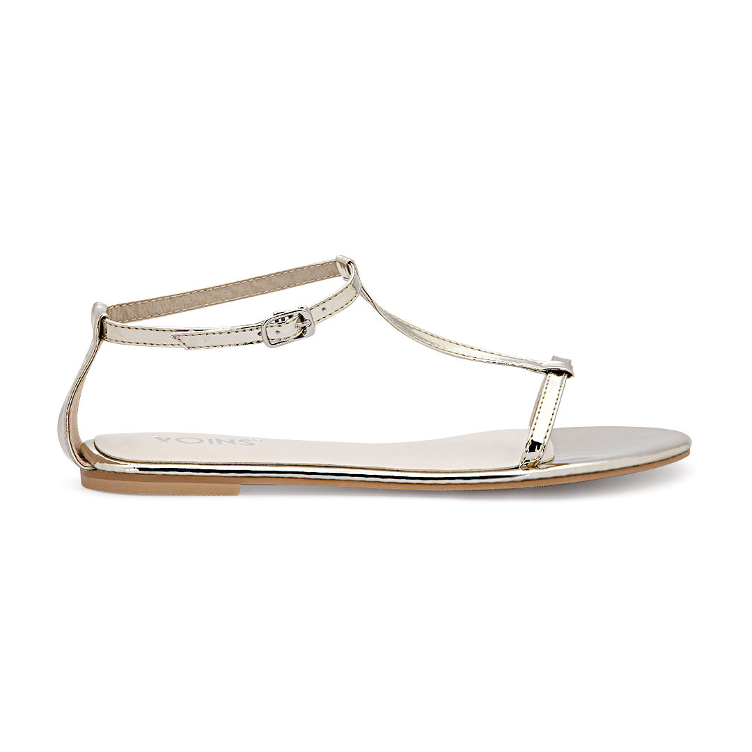 Gold T-bar Strap Flat Sole Simple Sandals