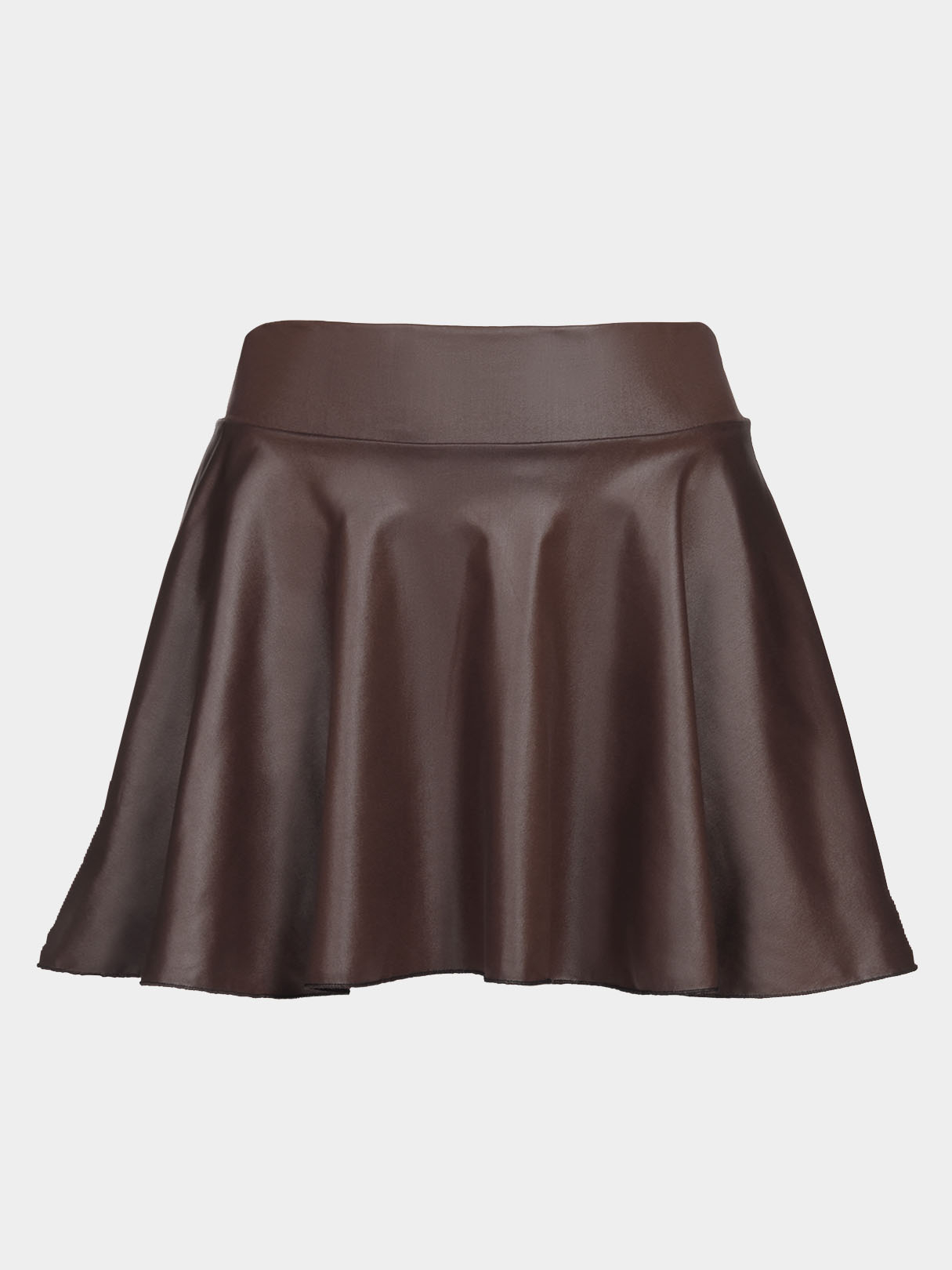 Coffee Leather Look Skater Skirt With Back Elastic Band