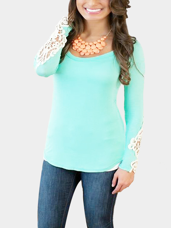 Green Long Sleeves T-Shirt with Lace Details