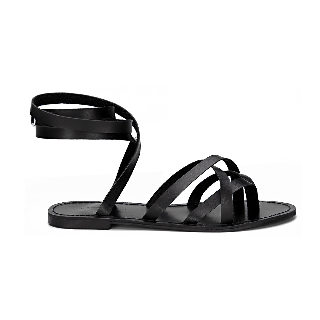 Black Pin Buckle Tie-up Ankle Strap Cross Over Strap Flat Gladiator Sandals