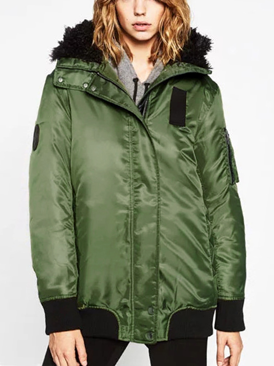 Fashion Green Zip Up Hooded Bomber Jacket with Pockets