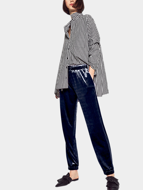 Blue Velvet High-waist and Drawstring Waist Causal Pants