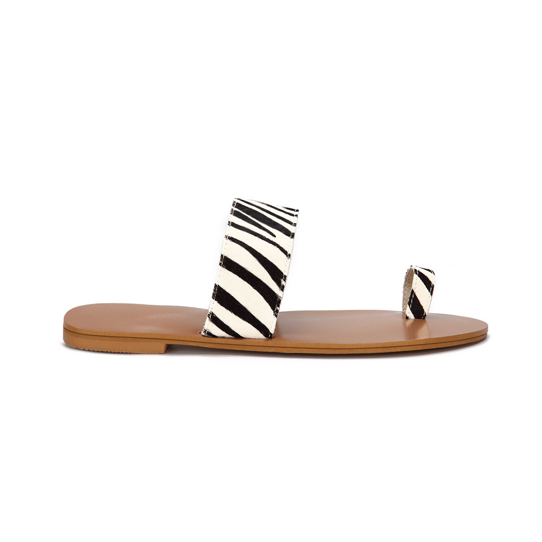 Zebra Effect Two Strap Design Fashion Style Flat Slippers