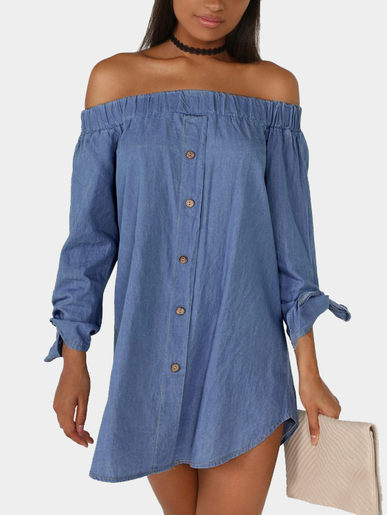 Loose Long Sleeves Off Shoulder Cowboy Dress