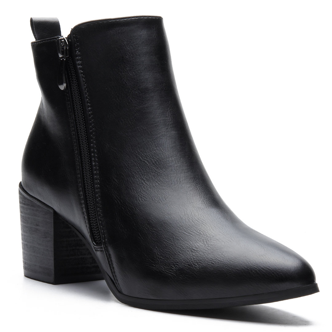 Black PU Short Boots with Side Zipper Design